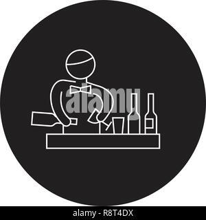 Bartender making cocktail black vector concept icon. Bartender making cocktail flat illustration, sign - Stock Photo