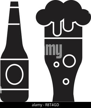 Beer bottle and beer glass black vector concept icon. Beer bottle and beer glass flat illustration, sign - Stock Photo