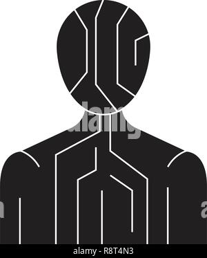 Body digital structure black vector concept icon. Body digital structure flat illustration, sign - Stock Photo