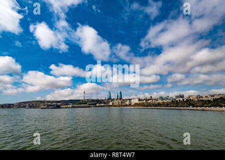 Baku Bay View of the Seaside Park - Stock Photo
