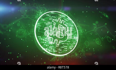 Artistic 3d illustration of a bitcoin symbol put in a shining circle and spinning slowly in the green background. It looks advanced and cheerful inspi - Stock Photo