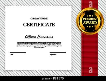Certificate template Background. Award diploma design blank. Vector Illustration - Stock Photo