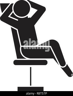 Businessman relaxation black vector concept icon. Businessman relaxation flat illustration, sign - Stock Photo