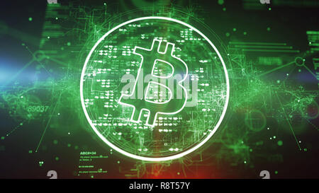 Cyber 3d illustration of a bitcoin sign put in a shimmering circle with many bright spots in the green background. It looks innovative and optimistic  - Stock Photo
