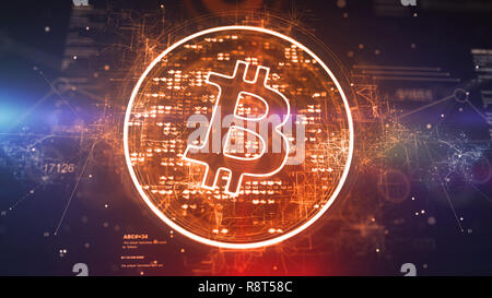 Crypto 3d illustration of a bitcoin symbol located askew in a sparkling golden circle full of pixels in the dark violet background. It looks innovativ - Stock Photo
