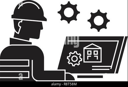 Cad drawing black vector concept icon. Cad drawing flat illustration, sign - Stock Photo