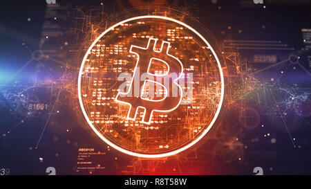 Splendid 3d illustration of a golden bitcoin symbol located askew in a plazma circle with radiant pixels in the dark violet background with a meshwork - Stock Photo