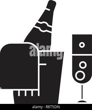 Champagne bottle and glass black vector concept icon. Champagne bottle and glass flat illustration, sign - Stock Photo
