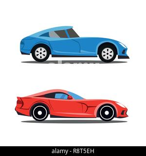 Model of profile cars, car cartoon designs in profile view - Stock Photo