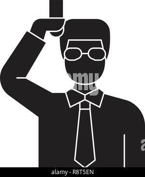 Chemist scientist black vector concept icon. Chemist scientist flat illustration, sign - Stock Photo