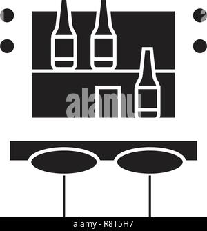 Cocktail bar black vector concept icon. Cocktail bar flat illustration, sign - Stock Photo