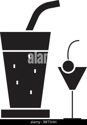 Cocktail drinks black vector concept icon. Cocktail drinks flat illustration, sign - Stock Photo