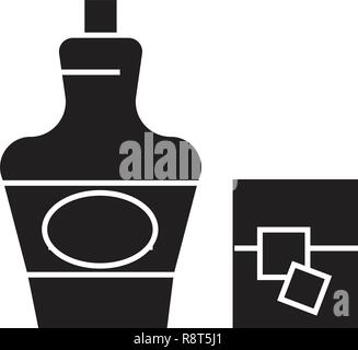 Cognac, brandy black vector concept icon. Cognac, brandy flat illustration, sign - Stock Photo