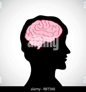 man with big brain silhouette vector illustration - Stock Photo