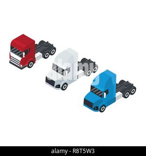 Set of trucks or trailer in an isometric view. Container for transport. Delivery of cargo.  Red, white and blue. Vector illustration - Stock Photo
