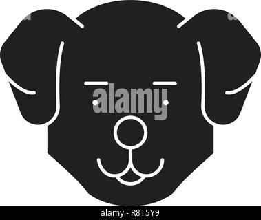 Cute dog head black vector concept icon. Cute dog head flat illustration, sign - Stock Photo
