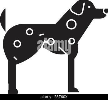 Dalmatian  black vector concept icon. Dalmatian  flat illustration, sign - Stock Photo