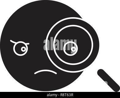 Detective emoji black vector concept icon. Detective emoji flat illustration, sign - Stock Photo