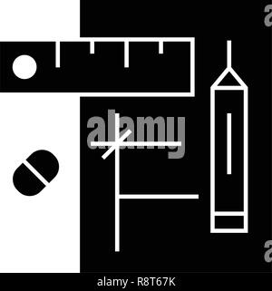 Draft project black vector concept icon. Draft project flat illustration, sign - Stock Photo