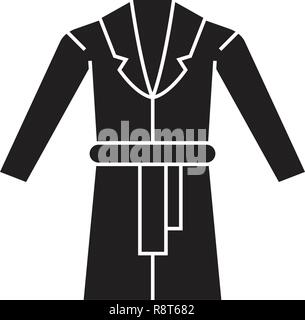Dressing gown black vector concept icon. Dressing gown flat illustration, sign - Stock Photo