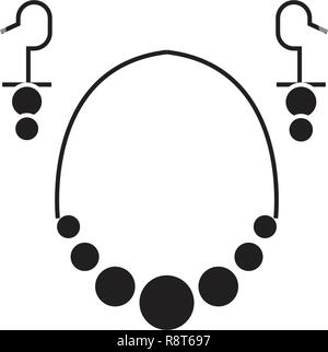 Earrings necklace black vector concept icon. Earrings necklace flat illustration, sign - Stock Photo