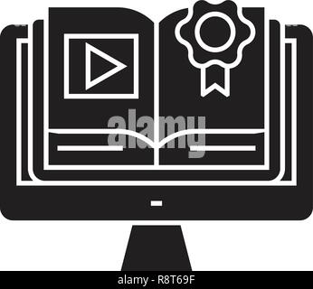 Ebook library black vector concept icon. Ebook library flat illustration, sign - Stock Photo