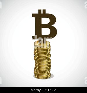 bitcoin stands on gold coins concept of cryptocurrency vector illustration EPS10 - Stock Photo