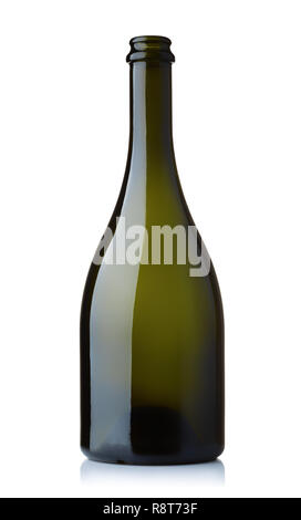 Front view of empty green wine bottle isolated on white - Stock Photo