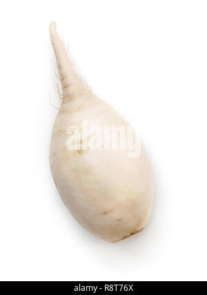 Top view of fresh daikon radish  isolated on white - Stock Photo