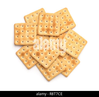Top view of soda crackers isolated on white - Stock Photo