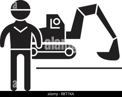 Excavator working black vector concept icon. Excavator working flat illustration, sign - Stock Photo