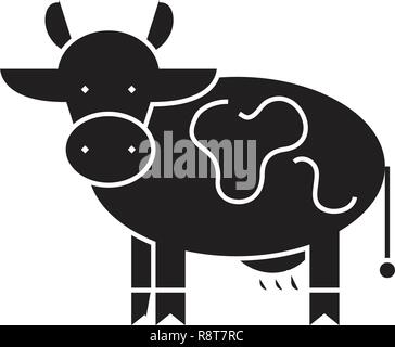 Farm cow black vector concept icon. Farm cow flat illustration, sign - Stock Photo