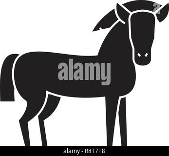 Farm horse black vector concept icon. Farm horse flat illustration, sign - Stock Photo