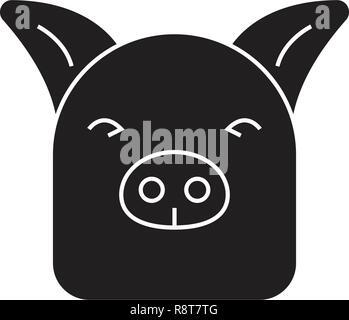 Farm pig black vector concept icon. Farm pig flat illustration, sign - Stock Photo
