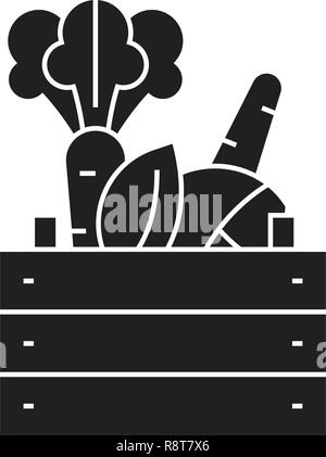 Farmer products black vector concept icon. Farmer products flat illustration, sign - Stock Photo