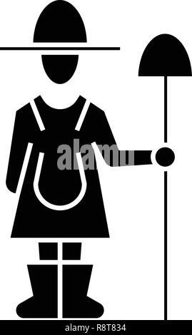 Female farmer with shovel black vector concept icon. Female farmer with shovel flat illustration, sign - Stock Photo