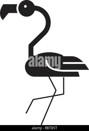 Flamingo head black vector concept icon. Flamingo head flat illustration, sign - Stock Photo