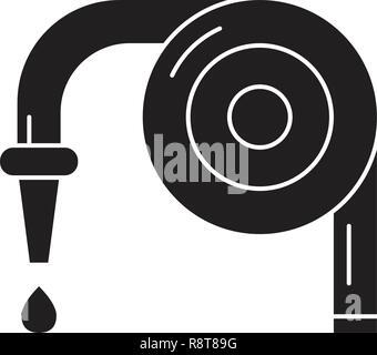 Garden hose black vector concept icon. Garden hose flat illustration, sign - Stock Photo
