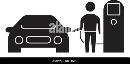 Gas station black vector concept icon. Gas station flat illustration, sign - Stock Photo