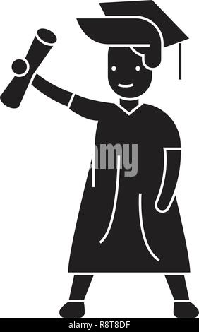 Graduate student black vector concept icon. Graduate student flat illustration, sign - Stock Photo