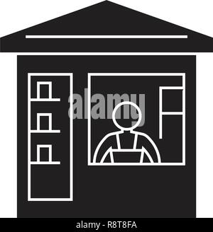 Grocery store  black vector concept icon. Grocery store  flat illustration, sign - Stock Photo