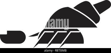 Hermit crab black vector concept icon. Hermit crab flat illustration, sign - Stock Photo