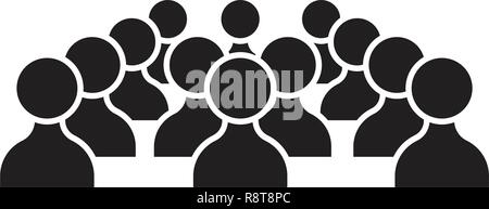 Human resources people black vector concept icon. Human resources people flat illustration, sign - Stock Photo