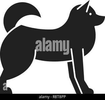 Husky  black vector concept icon. Husky  flat illustration, sign - Stock Photo