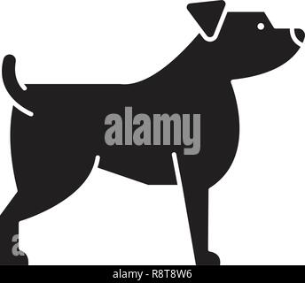 Jack russell terrier black vector concept icon. Jack russell terrier flat illustration, sign - Stock Photo