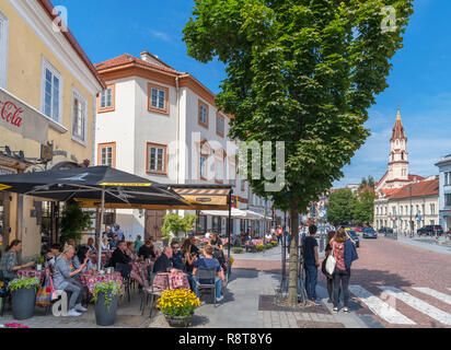 Cafe / Bar on Town Hall Square (Rotušės aikštė) in the Old Town, Vilnius, Lithuania - Stock Photo