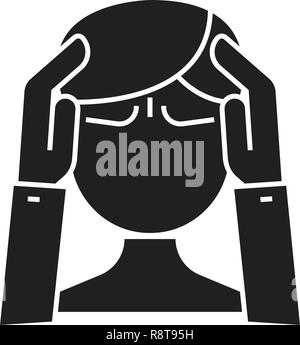 Mental activity black vector concept icon. Mental activity flat illustration, sign - Stock Photo