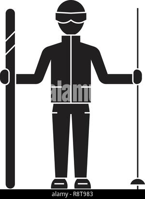 Mountain skier black vector concept icon. Mountain skier flat illustration, sign - Stock Photo