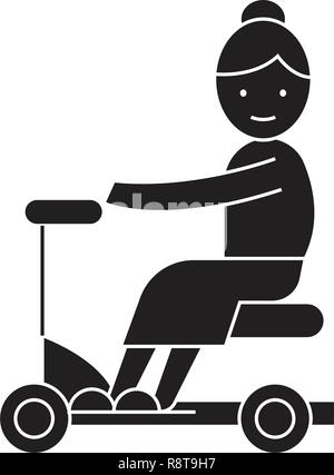 Old woman on scooter black vector concept icon. Old woman on scooter flat illustration, sign - Stock Photo