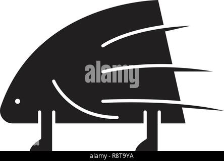 Porcupine black vector concept icon. Porcupine flat illustration, sign - Stock Photo